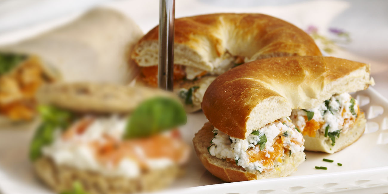Sweet potato & herbed ricotta bagels