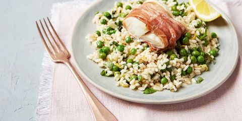 Roasted cod with Prosciutto and pea risotto
