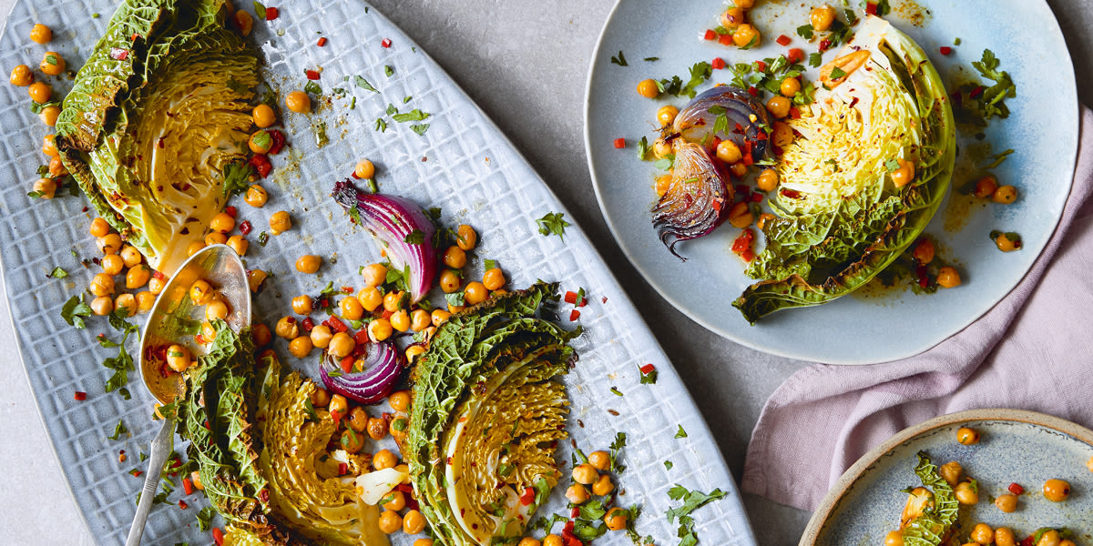 Roasted savoy cabbage with chick peas