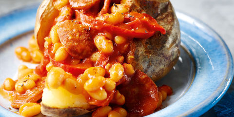 Jackets and chorizo beans