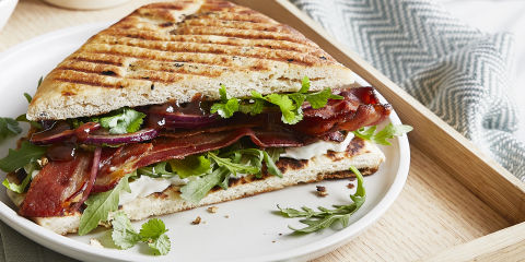 Naan bacon butty with spicy chutney