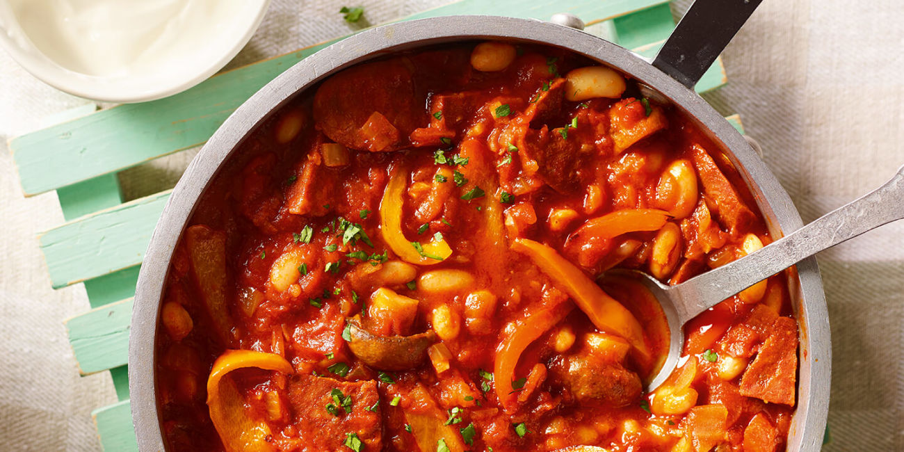 Chorizo and bean casserole