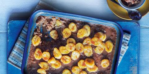 Chocolate and banana rice pudding