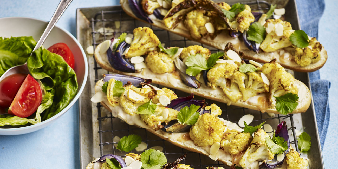 Curried cauliflower baguettes