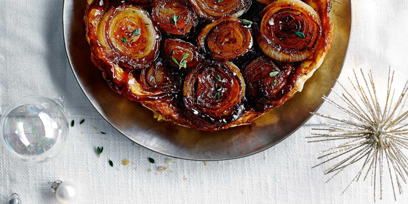 Onion tarte tatin with port glaze