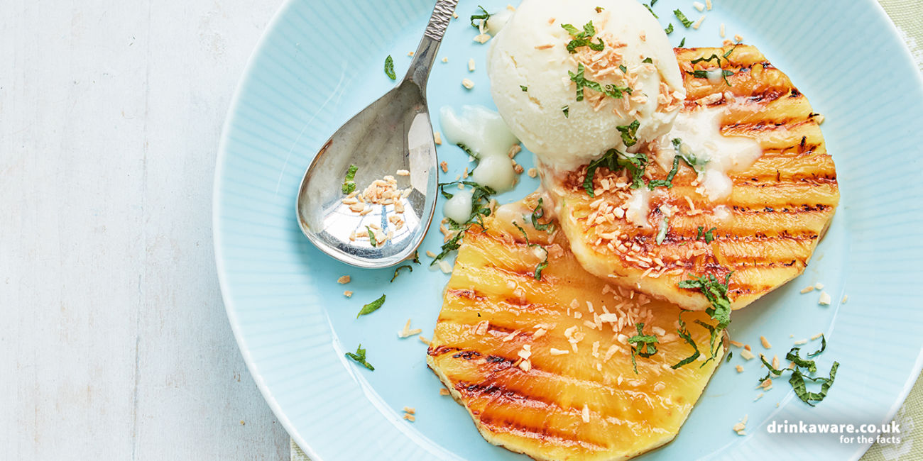 Griddled pineapple with piña colada non-dairy ice cream