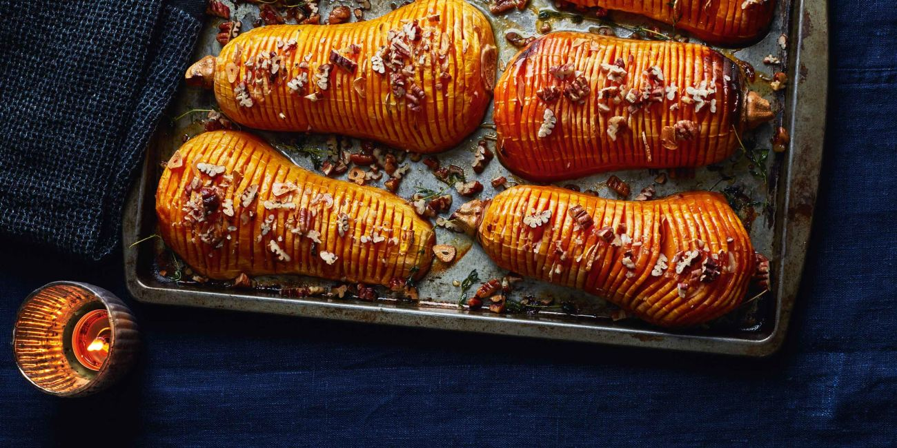 Hasselback squash with pecans and maple syrup