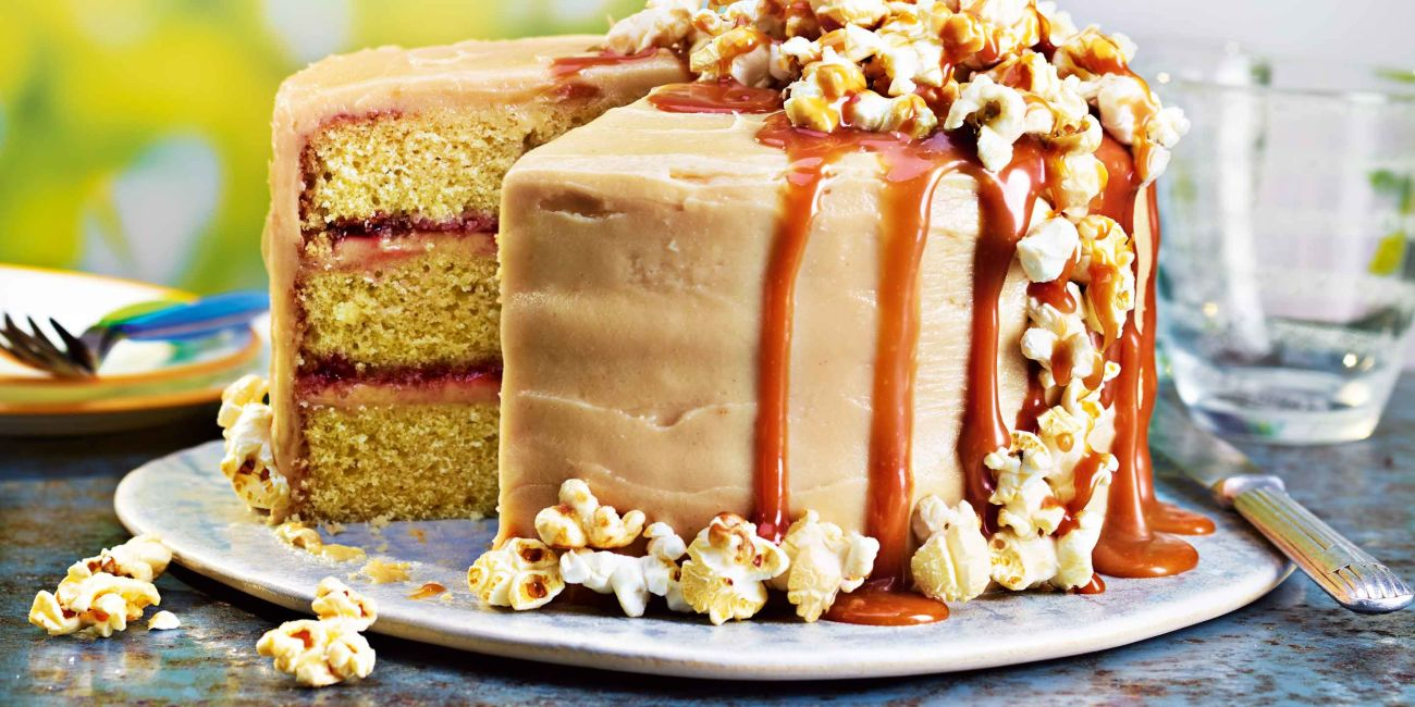 Peanut butter and popcorn layer cake