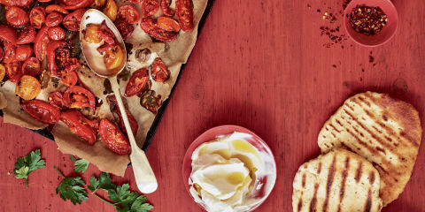 Slow roasted tomato and labneh flatbreads