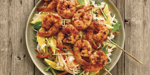 Encona Thai Sweet Chilli sauce tiger prawn skewers with a noodle salad