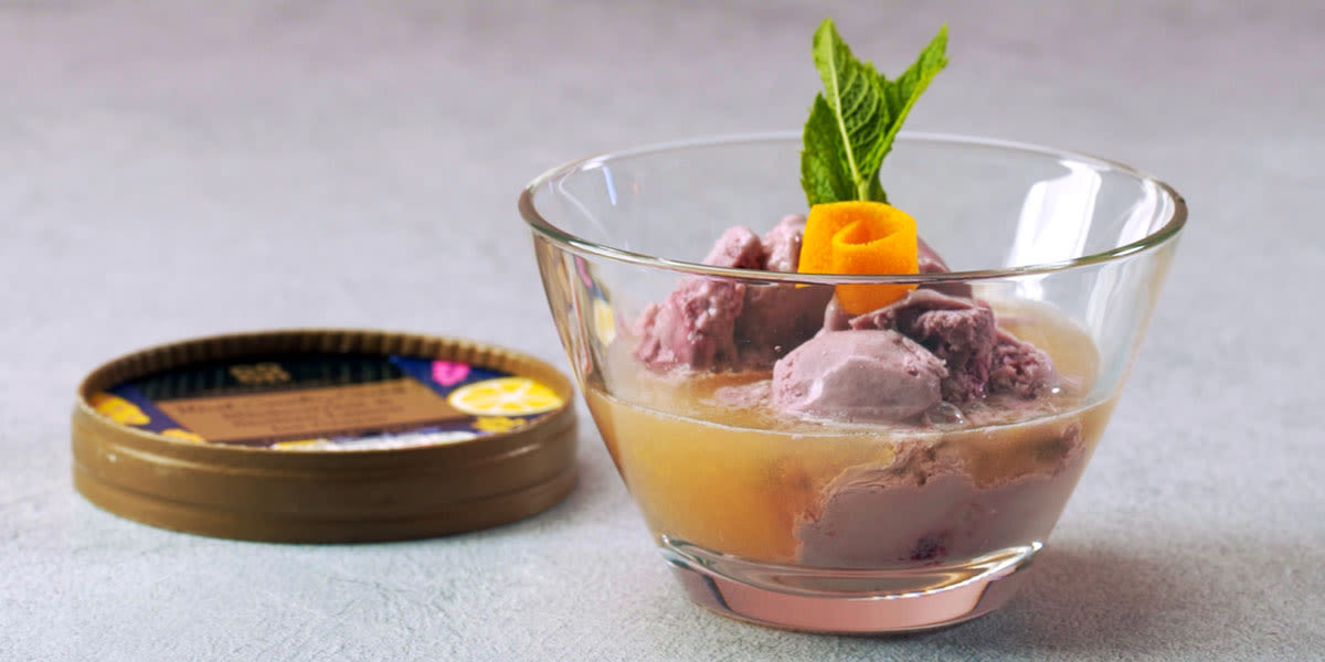 Pink grapefruit and orange affogato
