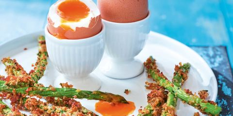 Asparagus bacon fries with dippy eggs