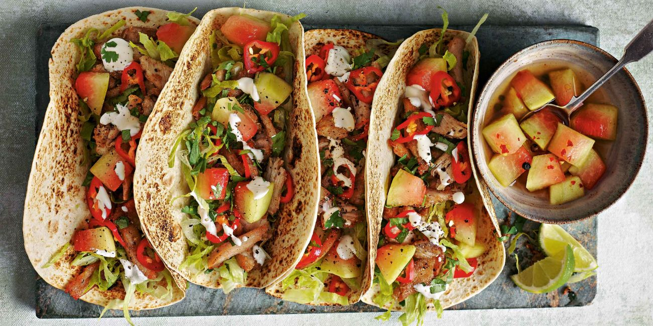 Shredded pork tacos with watermelon-rind pickle