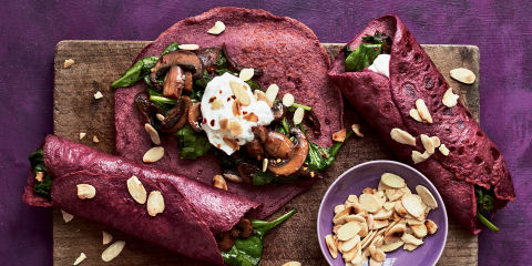 Masala beetroot crêpes with spiced mushrooms