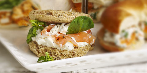 Smoked salmon teacake sandwiches