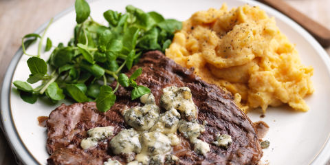 Steak, stilton and mash