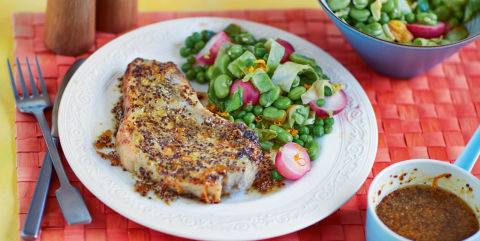 Honey and mustard pork chops