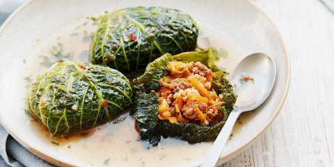 Stuffed cabbage leaves in fragrant broth