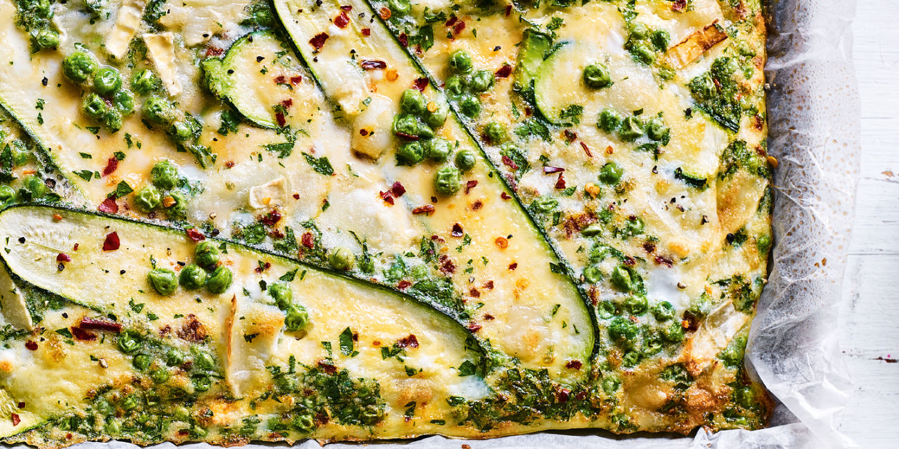 Pea and goat's cheese sheet pan eggs
