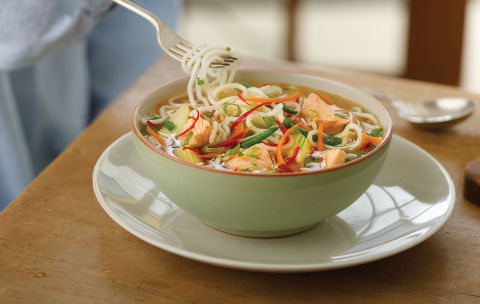 Thai-style salmon and noodle soup