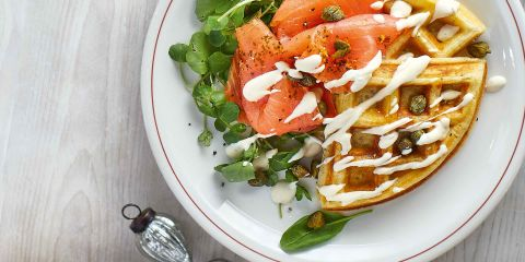 Waffles with Irresistible clementine smoked salmon