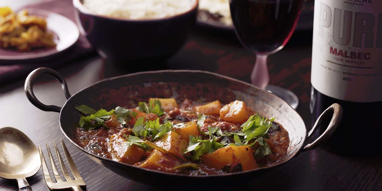 Patak's rogan josh curry with squash and spinach
