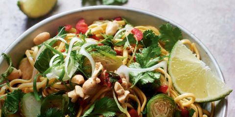Soy roasted sprouts with noodles and chilli dressing