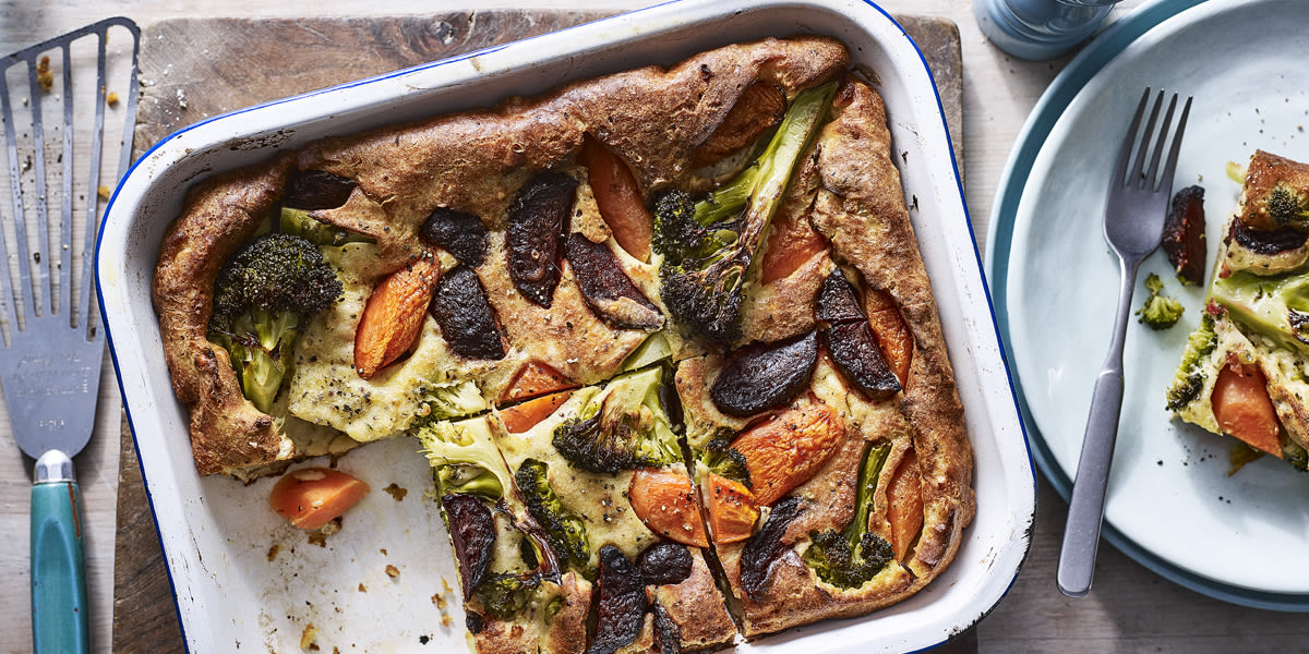 Roasted vegetable toad in the hole