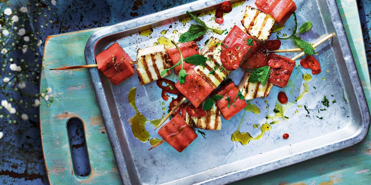 Spiced watermelon and halloumi skewers