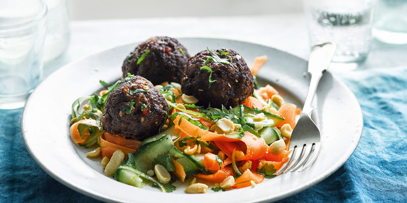 Thai meatballs with carrot and cucumber salad