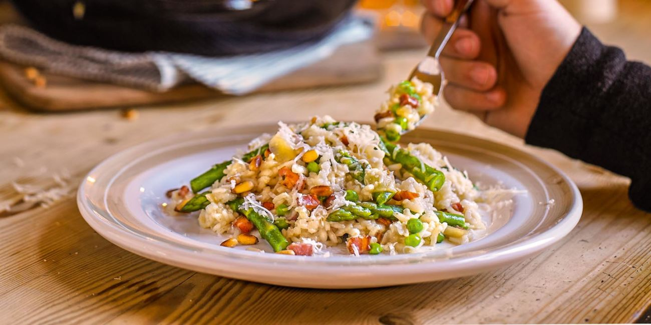 Asparagus and pancetta risotto