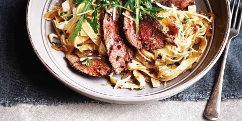 Steak and caramelised onion tagliatelle