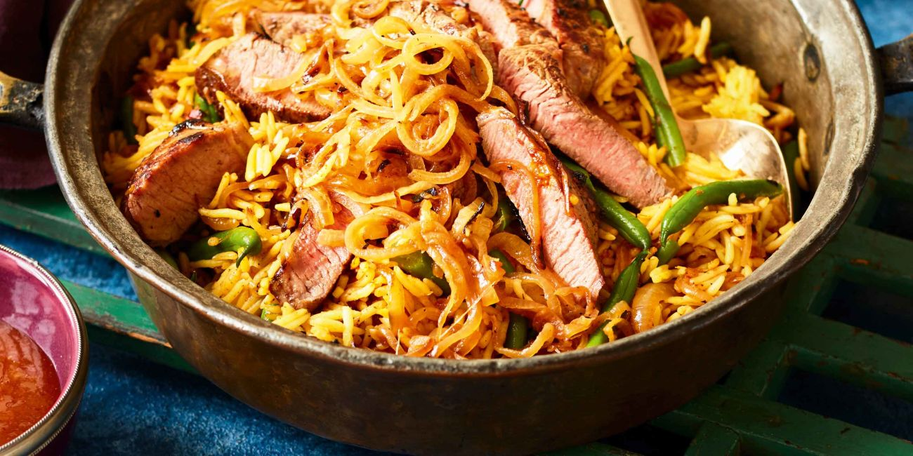 Cheat's steak biryani