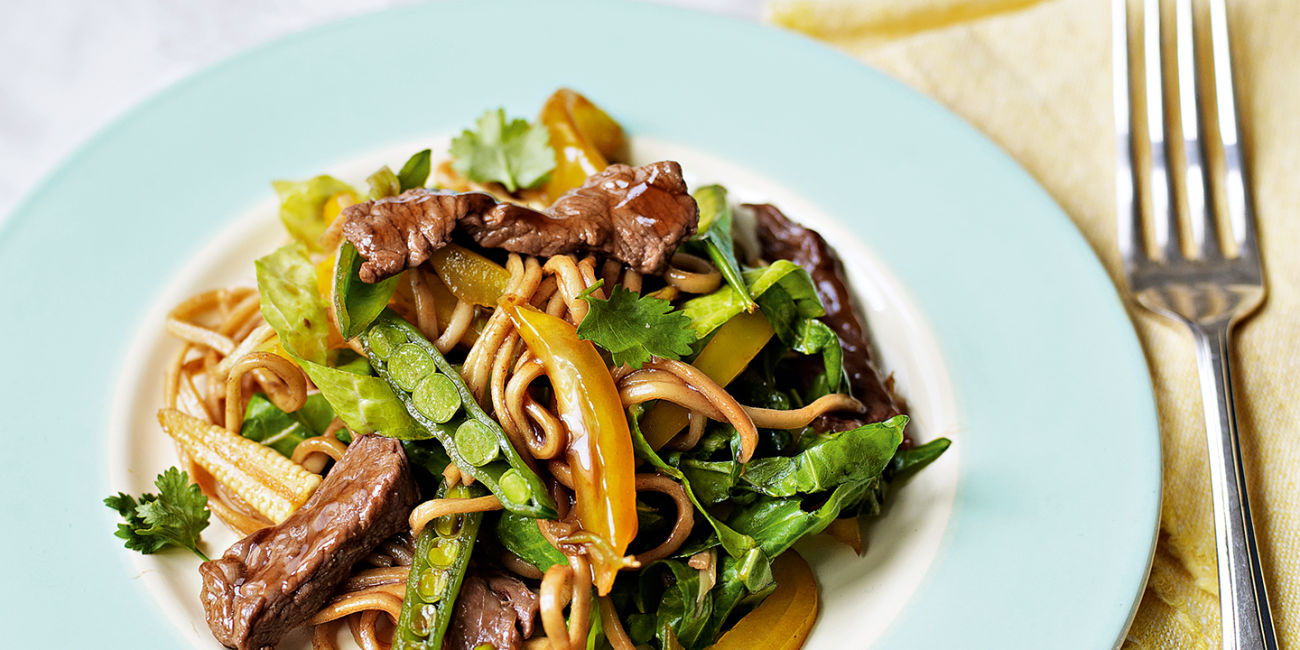 Gingered beef with spring veg