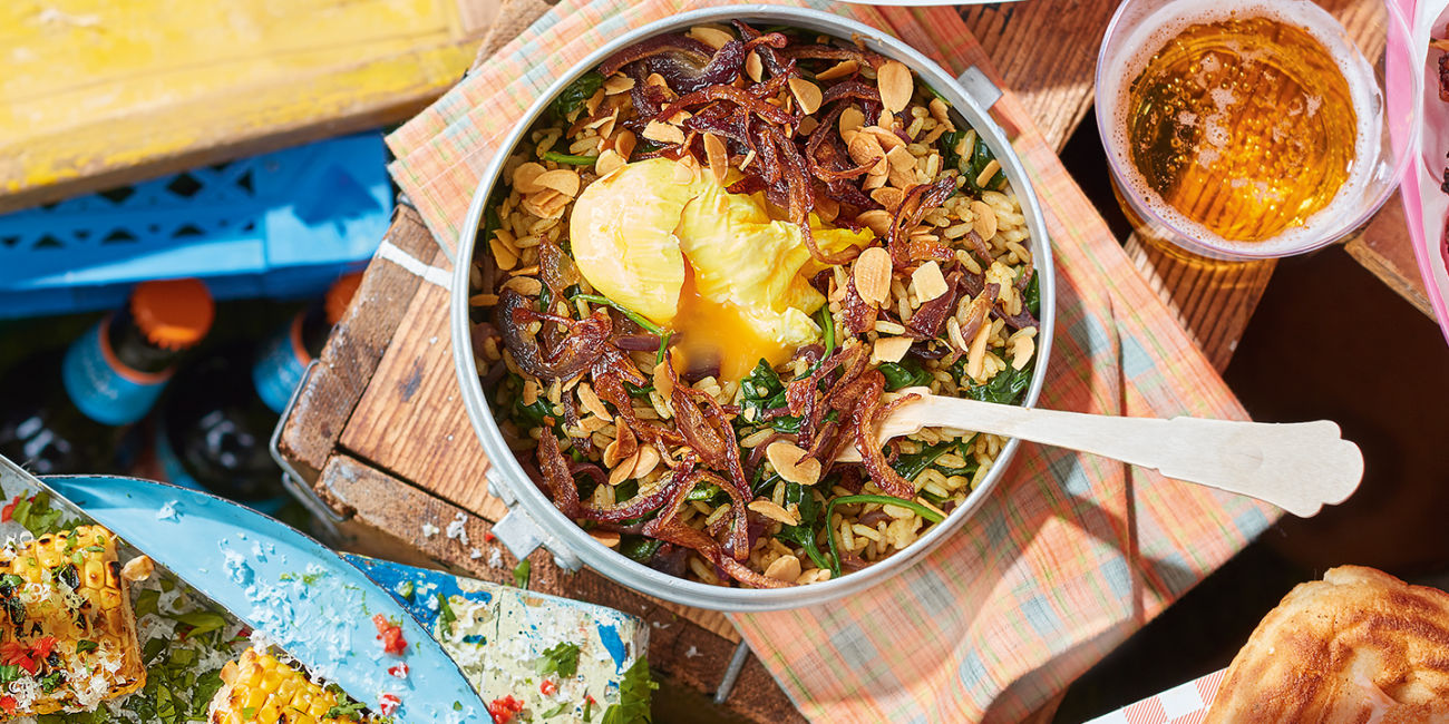 Indian rice bowl with turmeric eggs