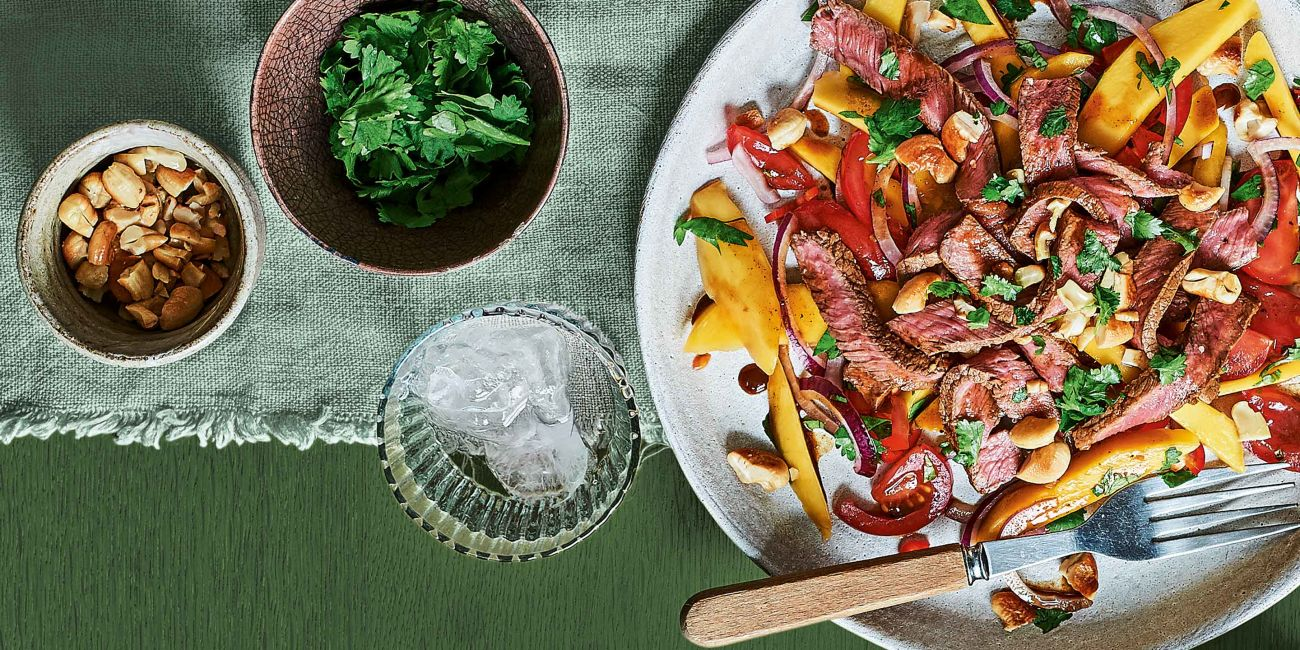 Steak with mango salad