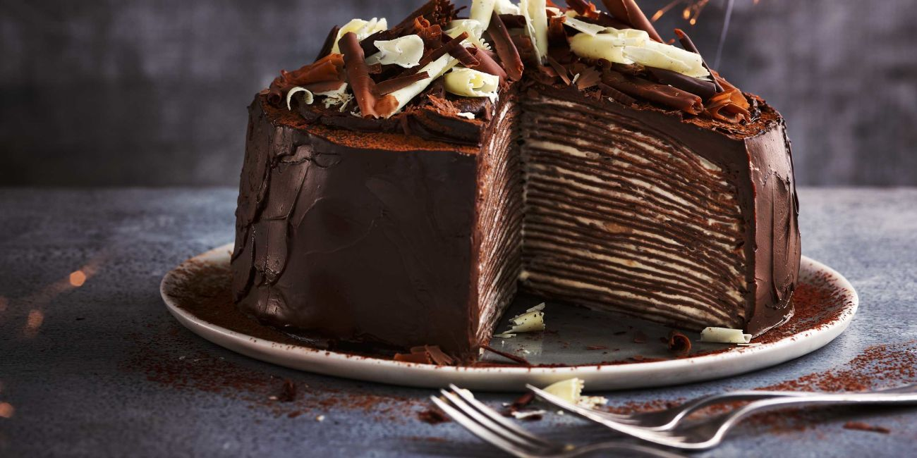 Fairtrade chocolate and banana crêpe cake