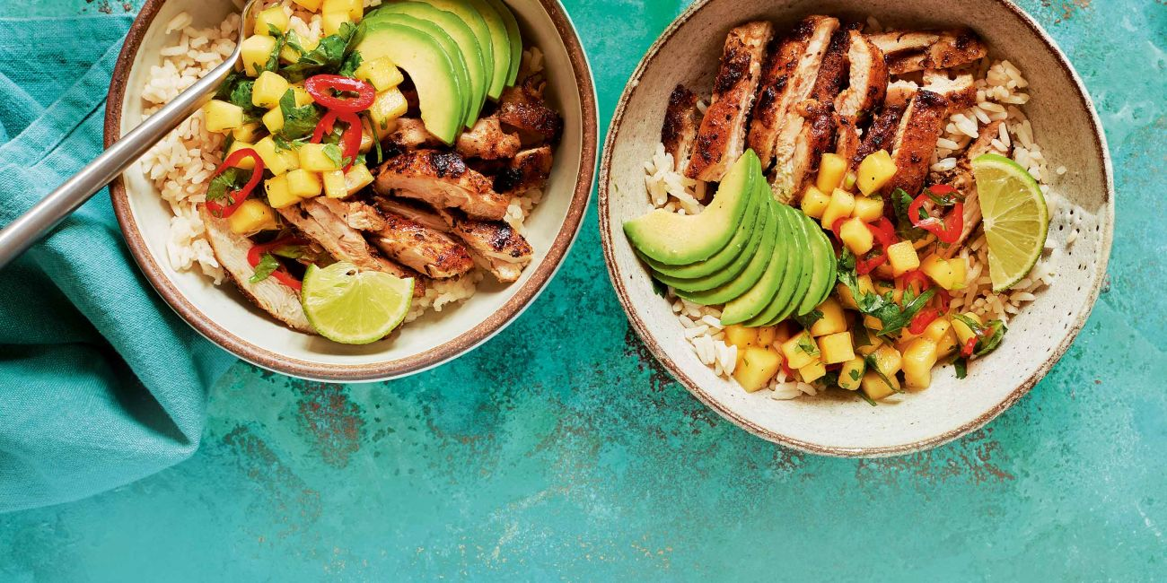 Cuban style chicken rice bowl