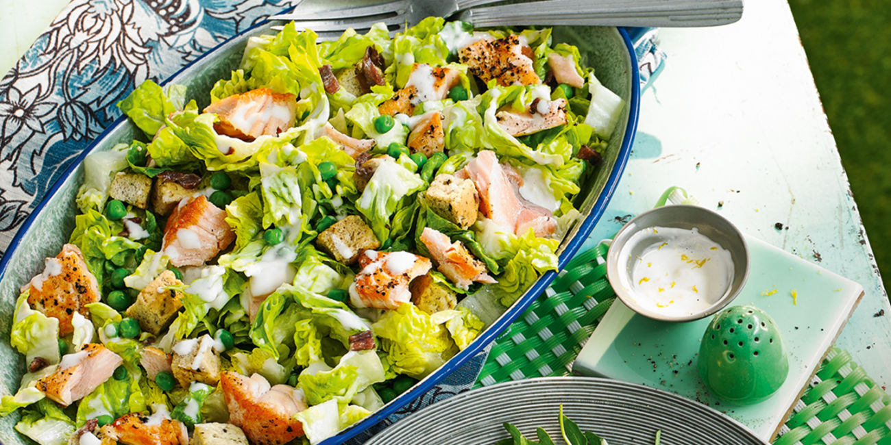 Scottish salmon caesar salad