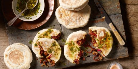 Sausage and caramelised onion flatbreads