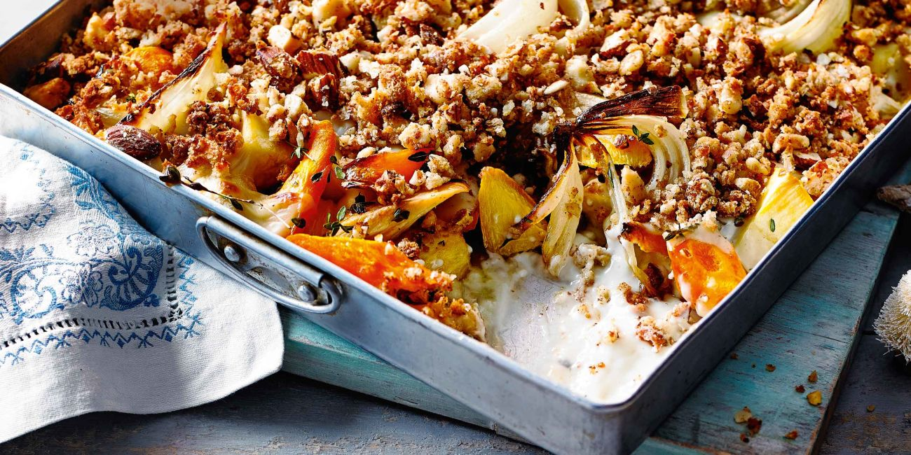 Roasted roots with nut crumble