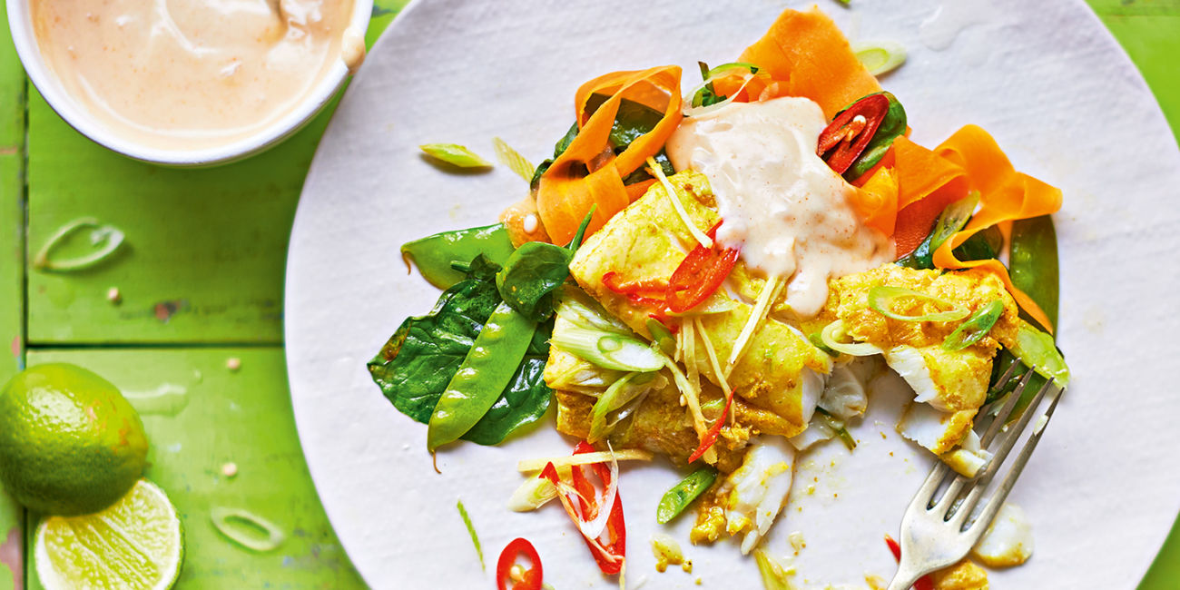 Curried haddock parcels