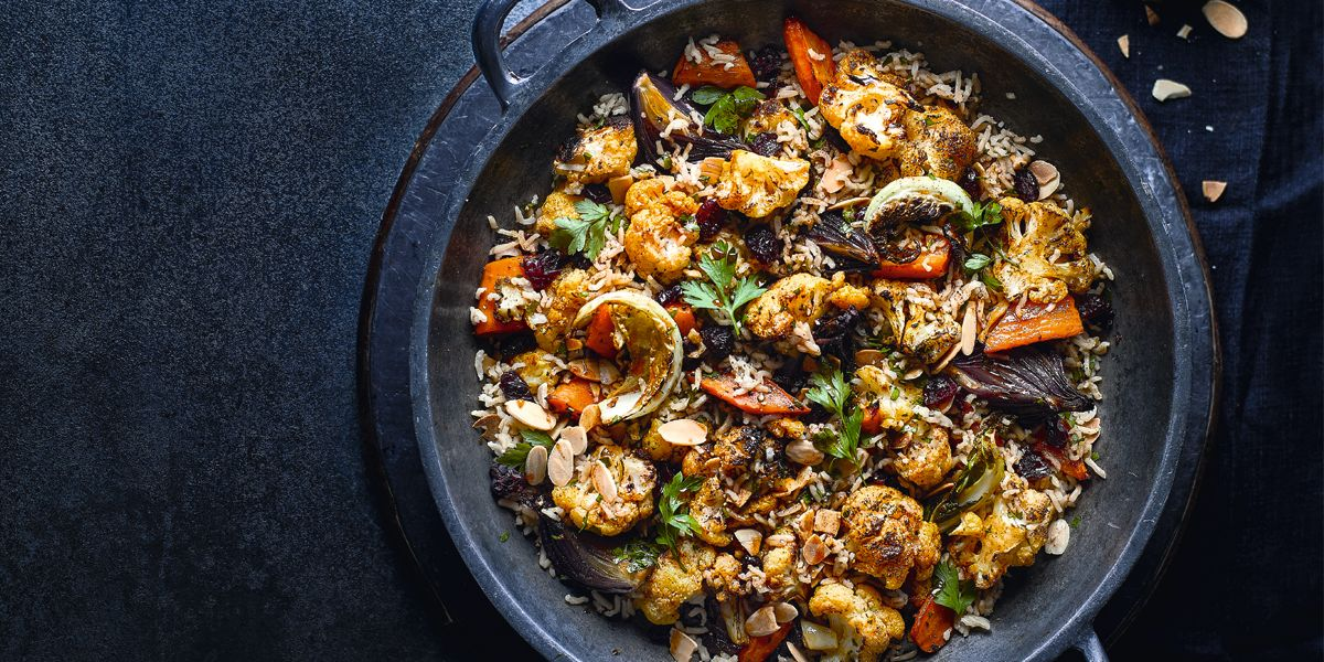 Moroccan-style cauliflower and rice bake