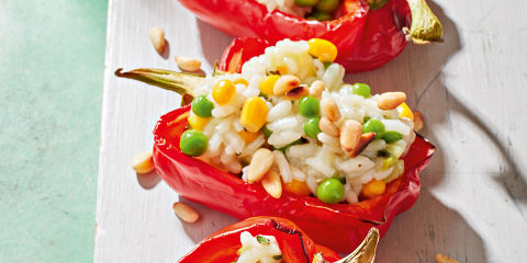 Creamy rice stuffed red peppers