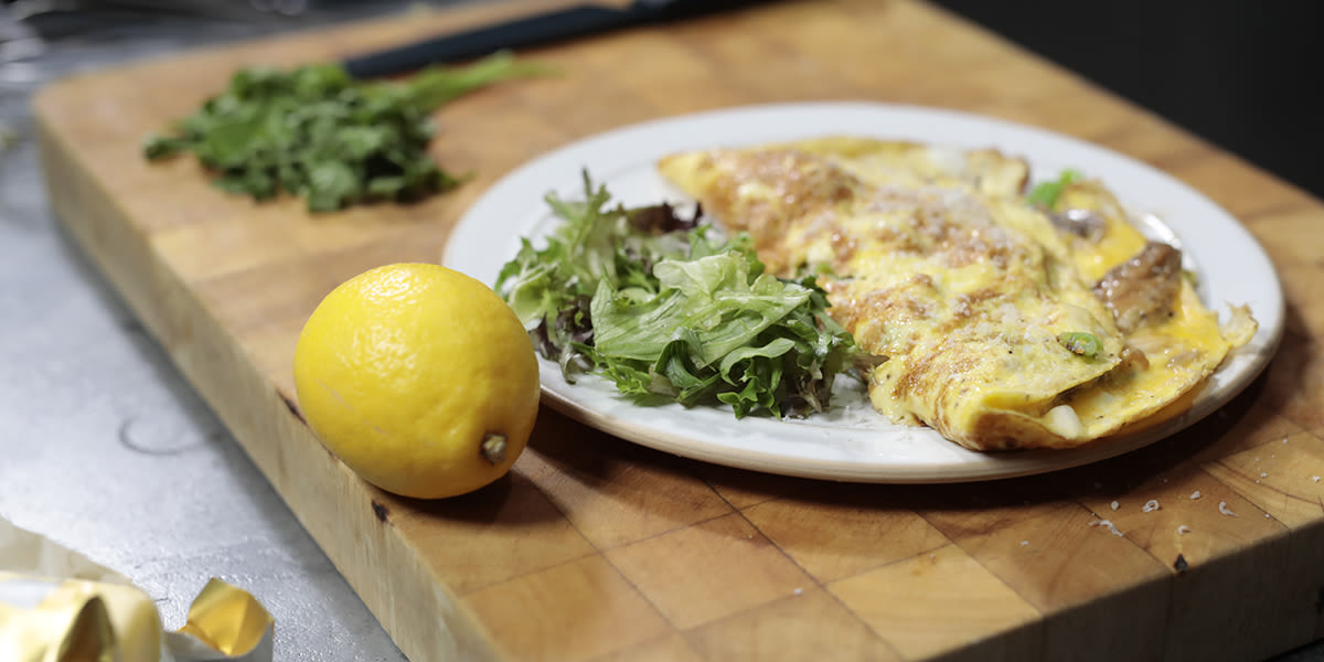 Smoked mackerel omelette