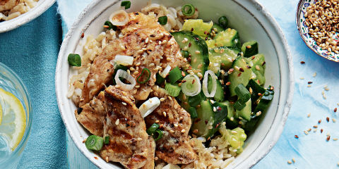 Chicken and smashed cucumber rice bowl