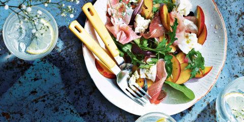 Pickled nectarine, goat's cheese and Parma ham salad