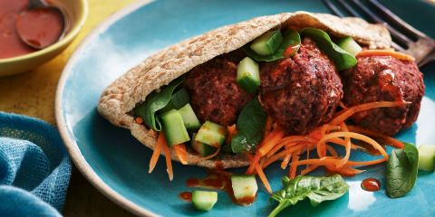Beetroot falafel pitta with carrot pickle