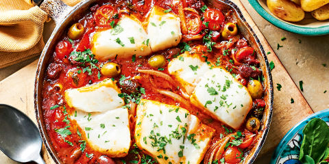 Baked cod with olives and chorizo