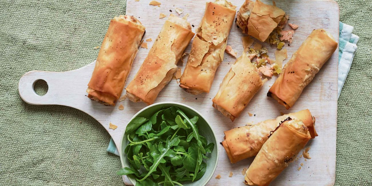 Salmon and leek filo rolls